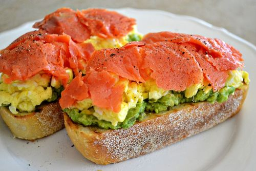 ... sandwich. It's an Open Faced Avocado, Scrambled Egg and Smoked Salmon